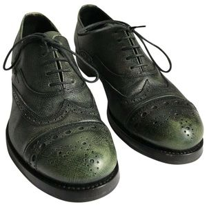 PRADA Olive Grained Leather Oxford Shoes Mens 6/ W